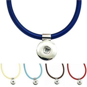 New DJ0096 Beauty colorful rope Snap necklace collars 45cm Magnet buckle fit DIY 18MM snap buttons jewlery