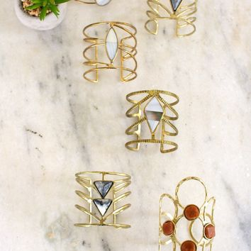 Set Of 6 Brass Finish Cuff With Stones