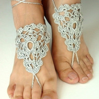 10% discount with coupon code SLAVENA bAREFOOT SANDALS , Crochet Silk Silver, Chic Nude Summer Shoes,  Foot Jewelry, Hippie Sandals Beach