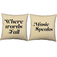 Where Words Fail Music Speaks Throw Pillows