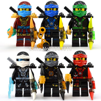 6Pcs lot Decool ninjago set Zane Cole Kai Nya minifigures Building Blocks Toys Compatible with Legoes