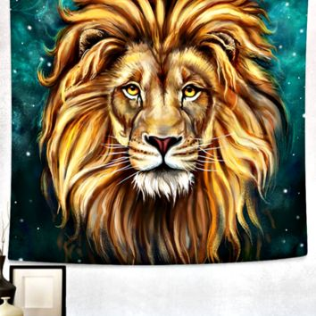 King of The Jungle Lion Bed Wall Tapestry