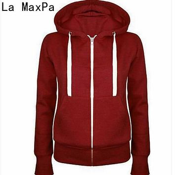 LA MAXPA HOT SELL!2017 Hoodies Sweatshirt Ladies Women Men Coat Top NEW 5 Colors Unisex Plain Zip Up Hooded Zipper
