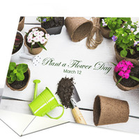 Gardening Tools and Plants for Flower Day March 12 card