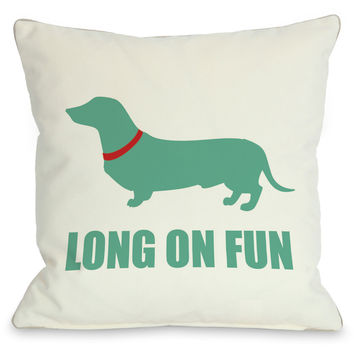 """Dachshund Long On Fun"" Indoor Throw Pillow by OneBellaCasa, 16""x16"""