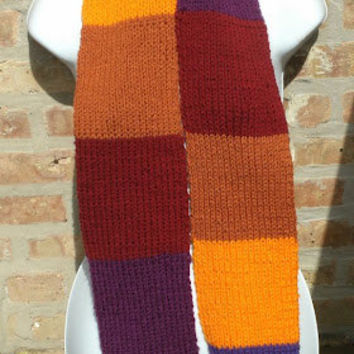 Hand Knit Scarf - The Color Wheel Scarf - Unisex Hand knit Scarf - Fall, Winter Accessories