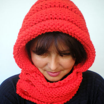 Eternity Red Fire  Color    Hoodie Acrilyc Yarn Hood Woman Chunky  Hooded Cowl NEW