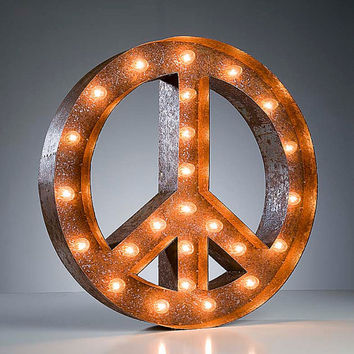 Vintage Marquee Lights - Ready to Ship - Peace Sign