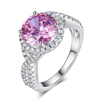 3 Carat Fancy Pink Simulated Diamond 925 Sterling Silver Wedding Engagement Luxury Ring Promise Anniversary