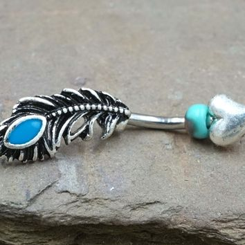 Peacock Feather Belly Button Ring