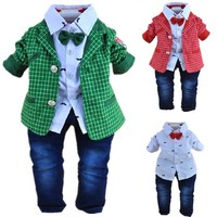 1-2Y baby boys plaid gentlemen clothing set 3pcs baby boy clothing infant vestidos clothes set kids clothes sets