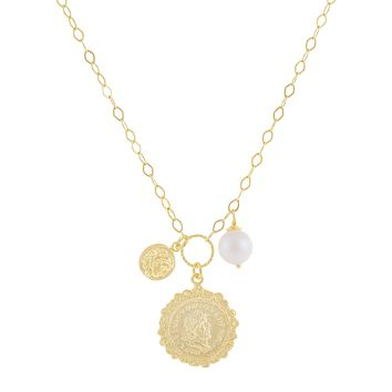 White Pearl X Vintage Coins Necklace