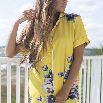 French Daydream Yellow Pajama Style Button Up Shirt Dress