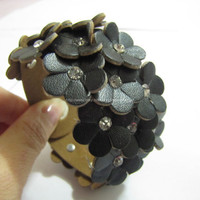 Black Soft PU Leather Flowers MultiCrystal