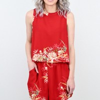 Red Hot Floral Layered Romper
