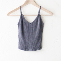 Knit V-neck Cami Crop Top - Charcoal