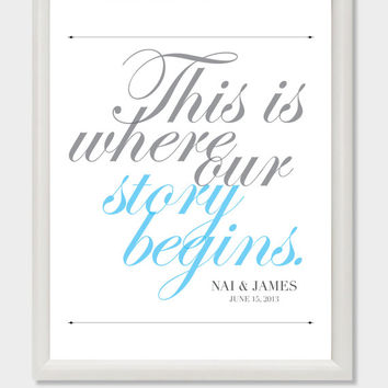 Wedding Sign Printable - This is where our story begins DIY. Wedding Table Sign. Wedding Poster. Custom Wedding Sign.