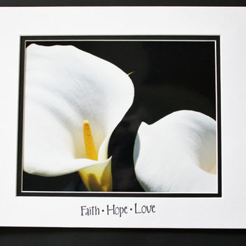 White Calla Lily, Inspirational Quote, Matted 8x10 Print, Brighten your world, Colorful Wall Art, Unique Gift, Affordable Decor