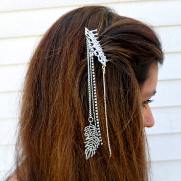 Hair Jewelry, Silver Boho Hair Comb, Festival Accessories, Feather Hair Piece, Rhinestone Hair