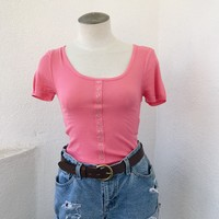 EMILY BUTTON FRONT TEE- CORAL