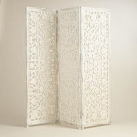 White Hand Carved Wood Screen