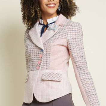 Eclectic Academic Tweed Blazer in Pink