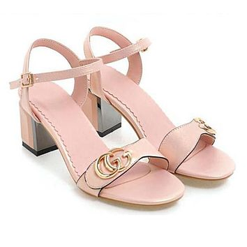 GUCCI Summer Popular Women Casual Double G Metal Logo Sandals High Heels Shoes Pink I13477-1