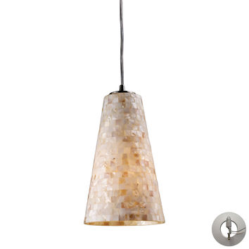 10142/1-LA Capri 1 Light Pendant In Satin Nickel And Capiz Shell - Includes Recessed Lighting Kit - Free Shipping!