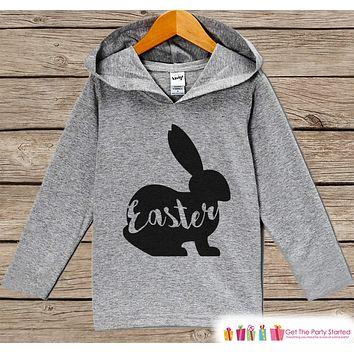 Kids Easter Outfit - Easter Bunny Hoodie - Easter Spring Pullover - Baby Boy or Girl Easter Outfit - Egg Hunt - Kids Grey Toddler Hoodie