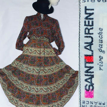Vintage 70's Yves Saint Laurent Rive Gauche 2pc Paisley Russian Collection Skirt Suit.