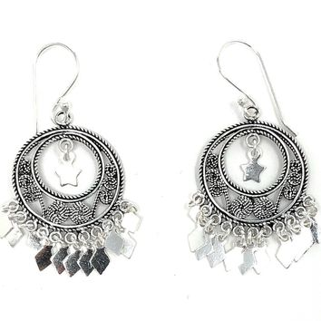 Sterling Silver Dangling Chandelier Hoop Earrings w/Hook Clasp, 29mm