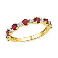 10kt Yellow Gold Womens Round Lab-Created Ruby Fashion Band Ring 1 & 1/10 Cttw