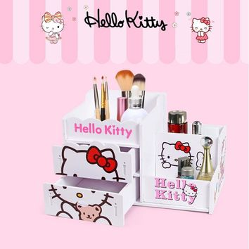 Kawaii Hello Kitty Pen Holder Cute Cartoon Pink White Desktop Storage Box Makeup Brush Holder Stationery School House Supplies
