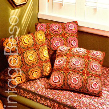 Trio of Roses EASY CROCHET FLOWER Pillows Crochet Motif Pillows in Three Color Variations Crochet Instant Download 1970s Bohemian Home Decor