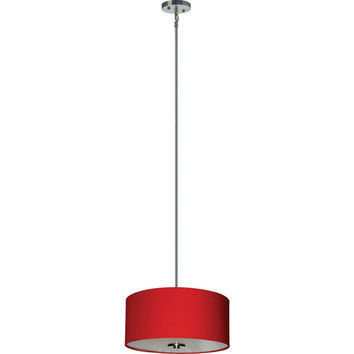 Yosemite Home Decor SH1607-3P-CPRSS Lyell Forks Satin Steel Three Light 16-Inch Drum Pendant with Chili Pepper Red Shade