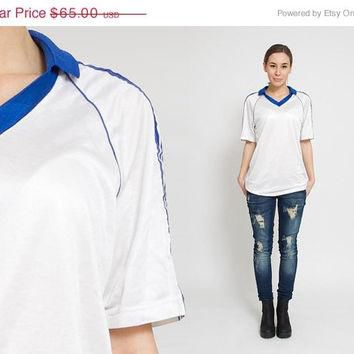 50% OFF SALE 1980's White Adidas Polo Shirt - Vintage 80s Blue Striped Tee Baseball Ol