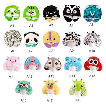 U Shaped Neck Pillow Panda/Frog/Chicken Hat Pillow Multi-function Ties Memory Travel Sleeping Bedding Body Pillows