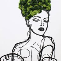 """Summer Woman - Eco Garden Art, Acrylic and 3D Painting on Canvas, Preserved Moss. Vertical Garden Art Sculpture up to 48"""" by Irena Orlov"""
