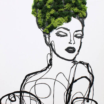 "Summer Woman - Eco Garden Art, Acrylic and 3D Painting on Canvas, Preserved Moss. Vertical Garden Art Sculpture up to 48"" by Irena Orlov"