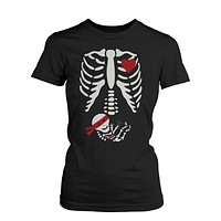 Halloween Pregnant Skeleton Ninja Baby X-Ray T-shirt Maternity Themed