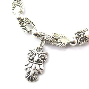 Abstract Owl Bird Shaped Animal Themed Stretchy Charm Bracelet in Silver