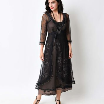 Nataya 1930s Black Tulle Edwardian Tea Party Dress