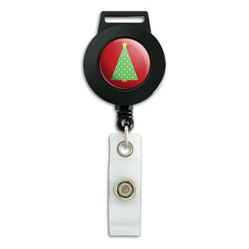 Christmas Tree Contemporary Retractable Badge Card ID Holder