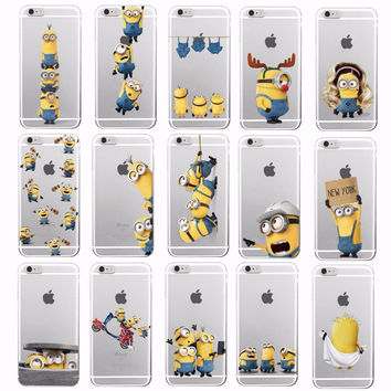 Cute Cartoon Cute Despicable Me Yellow Minions Soft Phone Clear Case Coque Fundas For iPhone 7 7Plus 6 6S 6Plus 5 5S SE 5C 4 4S