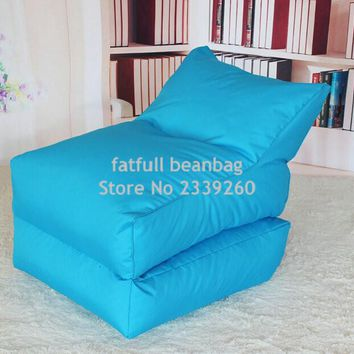 COVER ONLY,no filler -Aqua blue folding bean bag chair, Outdoor garden beanbag sofa seat furniture, Portable Hammock,fold sofa