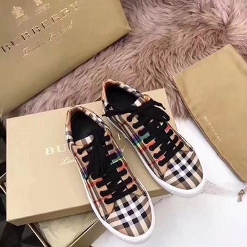 """Burberry"" Women Classic Casual Fashion Rainbow Stripe Tartan Canvas Plate Shoes Sneakers"