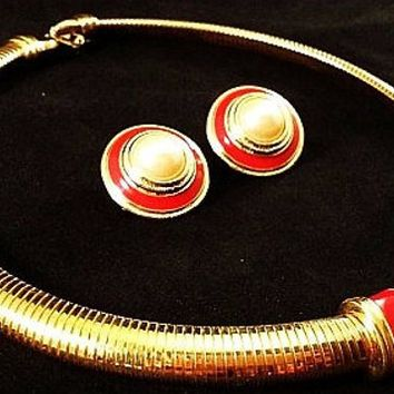 Red Enamel Necklace Earring Set Signed Monet Omega Gold Chain Vintage