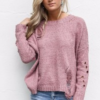 No Strings Attached Dark Mauve Sweater With Ripped Detail