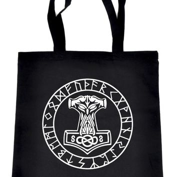 Mjolnir Mighty Thor Hammer Rune Script Tote Book Bag Alternative Handbag Viking