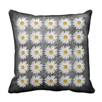 Repeat Daisy on Black and White texture background Throw Pillow